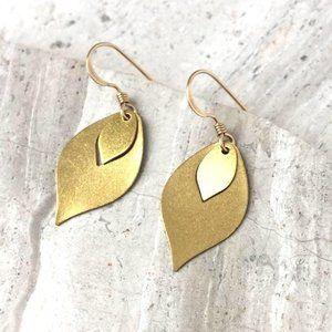 Gold Flame — Brass Dangle Earrings